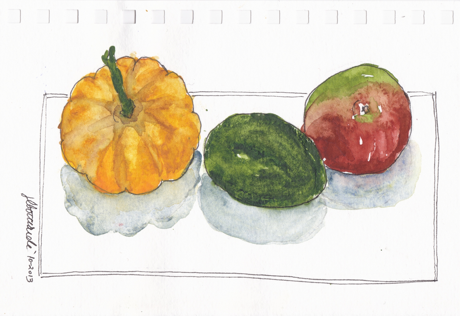 vegetable and fruit sketch and watercolor by Janet Bocciardi